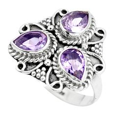 4.63cts natural purple amethyst 925 sterling silver ring jewelry size 7.5 p5775