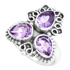 4.69cts natural purple amethyst 925 sterling silver ring jewelry size 7.5 p5778