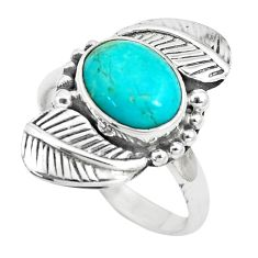 Natural kingman turquoise silver dreamcatcher solitaire ring size 7.5 p6124