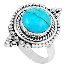 5.52cts blue arizona mohave turquoise 925 silver ring size 8 p6242