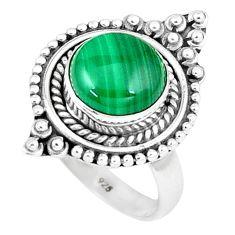 Natural green malachite (pilot's stone) 925 silver solitaire ring size 8 p6254