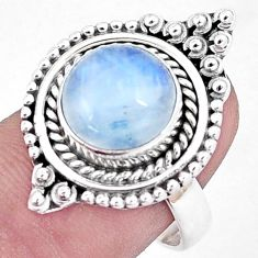 5.95cts natural rainbow moonstone 925 silver solitaire ring jewelry size 8 p6259