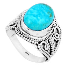 6.68cts natural green peruvian amazonite 925 silver solitaire ring size 8 p6261