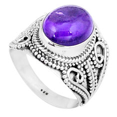 5.35cts natural purple amethyst 925 silver solitaire ring jewelry size 8 p6268