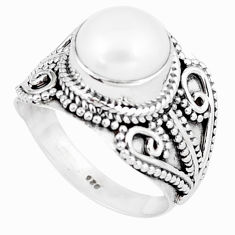 5.18cts natural white pearl 925 sterling silver solitaire ring size 8.5 p6270