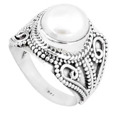5.35cts natural white pearl 925 sterling silver solitaire ring size 8 p6271