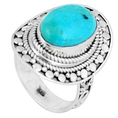6.96cts green arizona mohave turquoise 925 silver solitaire ring size 7.5 p6281