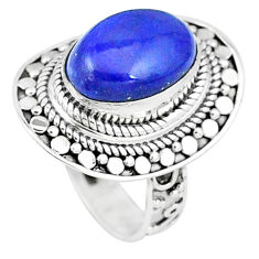 7.55cts natural blue lapis lazuli 925 silver solitaire ring jewelry size 8 p6285