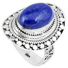 6.86cts natural blue lapis lazuli 925 silver solitaire ring size 7.5 p6287