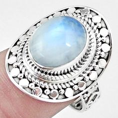 5.35cts natural rainbow moonstone 925 silver solitaire ring jewelry size 7 p6292
