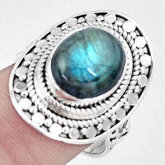 5.35cts natural blue labradorite 925 silver solitaire ring size 8.5 p6295