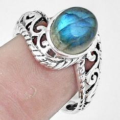 4.29cts natural blue labradorite 925 sterling silver solitaire ring size 8 p6358