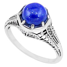 3.12cts natural blue lapis lazuli 925 silver solitaire ring jewelry size 9 p6429
