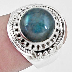 4.92cts natural blue labradorite 925 silver solitaire ring size 7.5 p6487