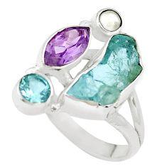 Natural aqua aquamarine rough topaz amethyst 925 silver ring size 7.5 p6529