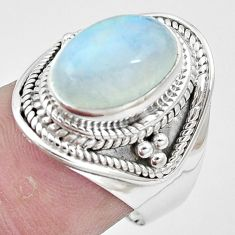 925 silver 5.43cts natural rainbow moonstone solitaire ring jewelry size 7 p6989