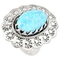925 silver 5.83cts natural blue larimar flower solitaire ring size 6.5 p7224
