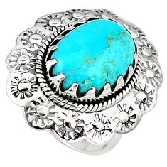 Green arizona mohave turquoise 925 silver flower solitaire ring size 5.5 p7226