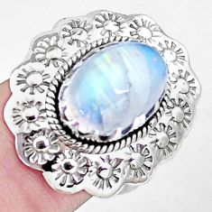 925 silver natural rainbow moonstone flower solitaire ring jewelry size 8 p7230