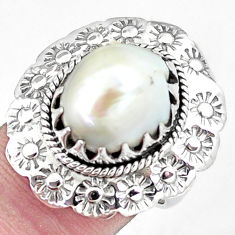 7.61cts natural white pearl 925 silver flower solitaire ring size 6.5 p7238