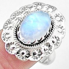 Silver 5.35cts natural rainbow moonstone flower solitaire ring size 8.5 p7239