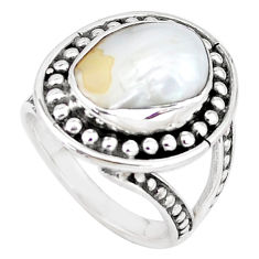 6.61cts natural white pearl 925 sterling silver solitaire ring size 7 p7265