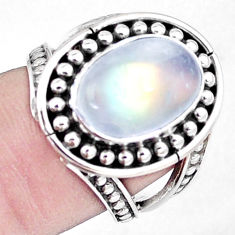 5.38cts natural rainbow moonstone 925 silver solitaire ring jewelry size 7 p7268