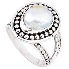 5.62cts natural white pearl 925 sterling silver solitaire ring size 8.5 p7275
