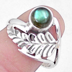 925 silver natural blue labradorite feather charm solitaire ring size 8 p7339