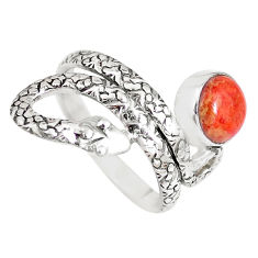 3.62cts red copper turquoise 925 silver snake solitaire ring size 8 p7842