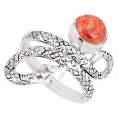 3.52cts red copper turquoise round 925 silver snake solitaire ring size 8 p7843