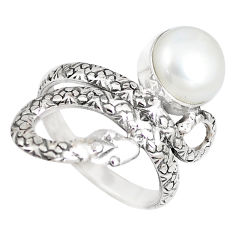 4.94cts natural white pearl 925 silver snake solitaire ring size 8.5 p7849