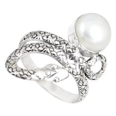 925 silver 4.77cts natural white pearl snake solitaire ring jewelry size 8 p7852