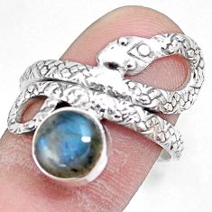 3.51cts natural blue labradorite 925 silver snake solitaire ring size 9 p7856