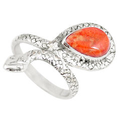 4.65cts red copper turquoise silver snake solitaire ring jewelry size 8 p7865