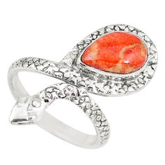 4.52cts red copper turquoise 925 silver snake solitaire ring size 8.5 p7866