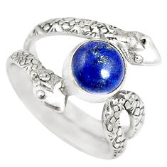 3.28cts natural blue lapis lazuli 925 silver snake solitaire ring size 7.5 p7881