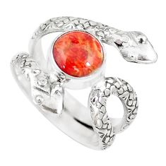 925 silver 3.16cts red copper turquoise round snake solitaire ring size 6 p7887