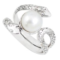 4.93cts natural white pearl sterling silver snake solitaire ring size 7 p7891