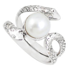 925 silver 5.07cts natural white pearl round snake solitaire ring size 8.5 p7893