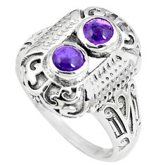 2.01cts natural purple amethyst 925 silver solitaire ring jewelry size 8.5 p8021