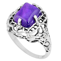 925 silver 4.74cts natural purple amethyst solitaire ring jewelry size 8.5 p8024