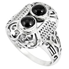 1.72cts natural black onyx 925 sterling silver solitaire ring size 8 p8032