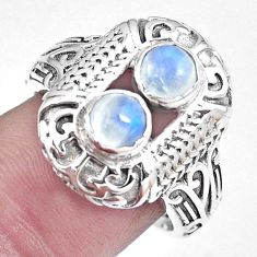 1.67cts natural rainbow moonstone 925 silver solitaire ring jewelry size 8 p8036
