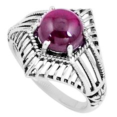 925 sterling silver 3.19cts natural red garnet round solitaire ring size 7 p8063
