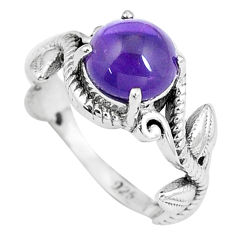 3.19cts natural purple amethyst 925 sterling silver solitaire ring size 6 p8081