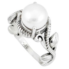 925 sterling silver 3.36cts natural white pearl solitaire ring size 6 p8092