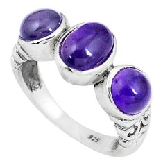 4.00cts natural purple amethyst oval 925 silver ring jewelry size 6 p8102