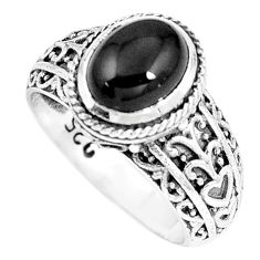3.06cts natural black onyx 925 sterling silver solitaire ring size 7 p8105