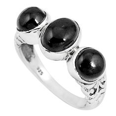 4.02cts natural black onyx 925 sterling silver ring jewelry size 7 p8107